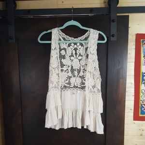 Forever 21 Cream Lace Vest - Size Small